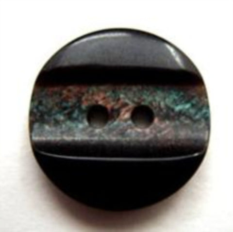 B10568 19mm Black and Iridescent Dinked Centre 2 Hole Button