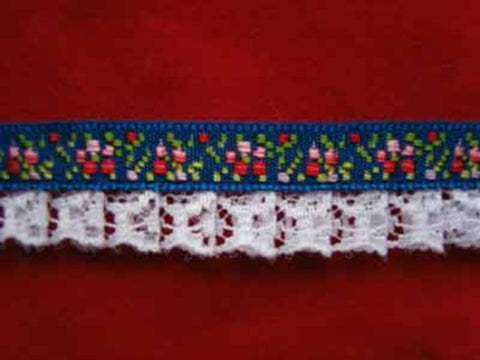 L035 15mm, White Lace on a Royal Blue Flowery Woven Jacquard - Ribbonmoon