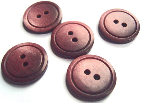 B13814 18mm Frosted Burgundy Bone Sheen 2 Hole Button, Ring Edged