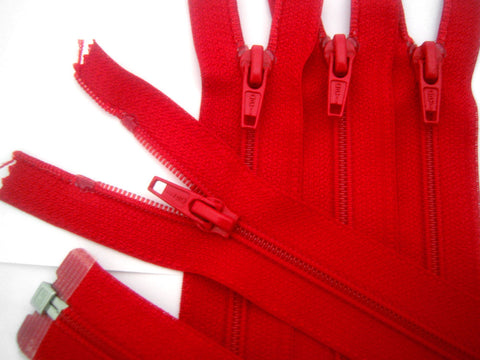Z1187 Optilon 30cm Deep Red Nylon No.5 Open End Zip