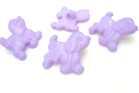 B11518 22mm Lilac Poodle Dog Gloss Nylon Childrens Shank Button