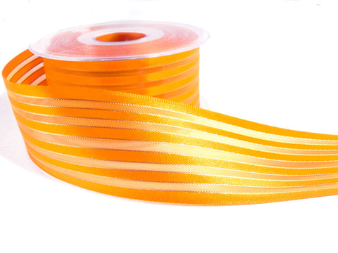R0033 40mm Marigold Satin, Sheer and Thin Gold Lurex Striped Ribbon