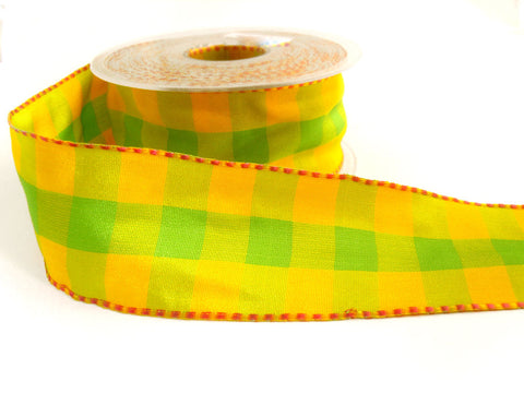 R0084 40mm Lime Green and Yellow Gingham Ribbon, Pink Banded Borders
