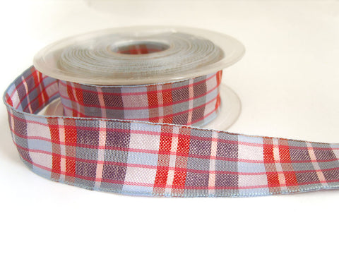 R0097 25mm Blues, Red Pink and Purple Polyester Tartan Ribbon
