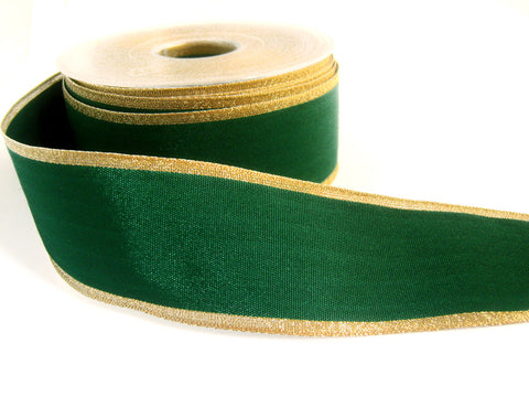 R0284 40mm Green Thick Woven Polyester Ribbon with Metallic Gold Edges