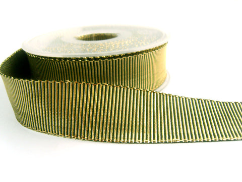 R0327 25mm Hunter Green and Metallic Gold Lurex Grosgrain Ribbon