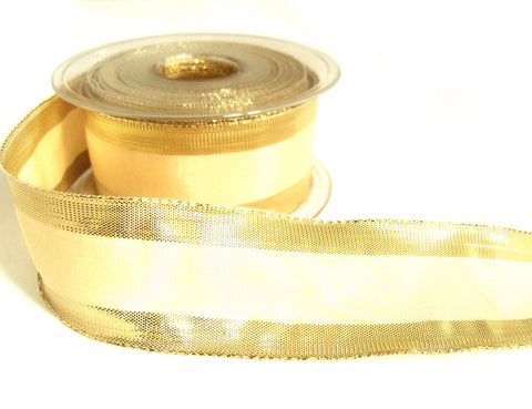 R0391 40mm Cream Polyester Ribbon with Gold Metallic Lurex Edges