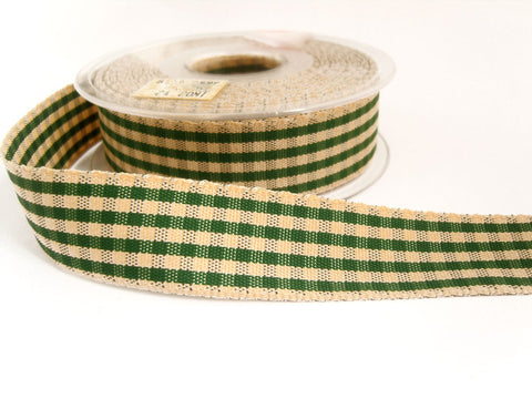 R0682 25mm Green and Cream Rustic Polyester Gingham Ribbon by Berisfords