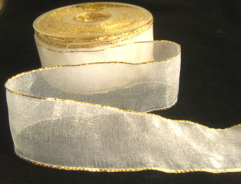 R1307 37mm White Super Sheer Ribbon with Metallic Gold Borders