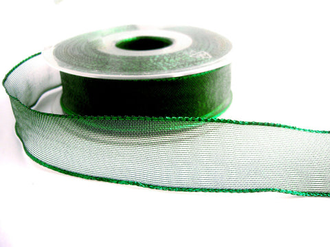 R1484 26mm Metallic Green Mesh Ribbon with Wired Borders