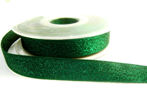 R2080 15mm Green Textured Metallic Lame Ribbon by Berisfords