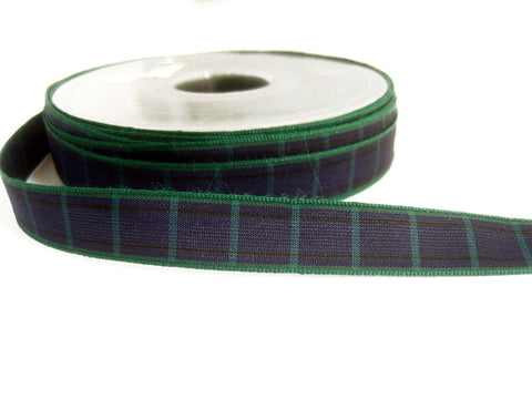 R2184 15mm Navy, Green and Black Blackwatch Tartan Ribbon by Berisfords