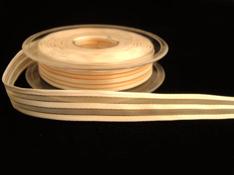 R0044 15mm Cream Satin, Sheer and Gold Metallic Striped Ribbon, Wired
