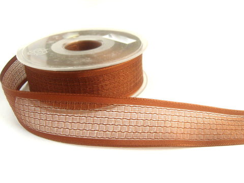 R2464 27mm Sinopia Brown Woven Sheer Ribbon. Wire Edge
