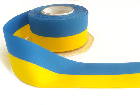 R2497 39mm Yellow and Blue Taffeta Ribbon, Sweden or Ukraine Flag