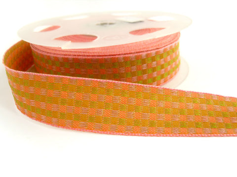 R3213 23mm Pink, Peach and Lime Green Woven Jacquard Check Ribbon