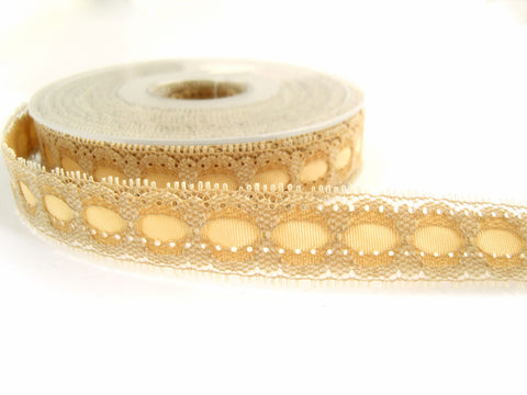 R4408 20mm Beige Eyelet Lace over Antique Cream Acetate Grosgrain Ribbon