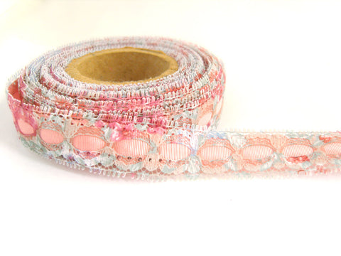R4409 20mm Eyelet Lace over a Pink Acetate Grosgrain Ribbon