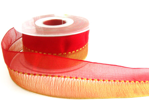 R5578 40mm Red and Metallic Gold Shot Sheer Ribbon with a Gimp Stitch