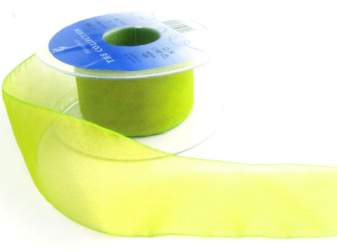 "R5611 40mm Lime and Yellow Shot Sheer Ribbon. ""Flamenco"" by Berisfords"