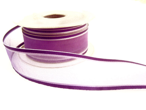 R5711 31mm Purple and Lilac Sheer Ribbon with Satin Borders