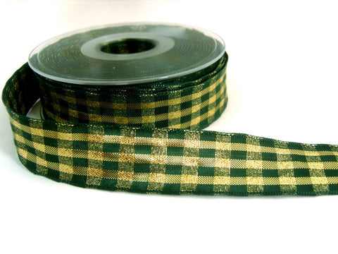 R6866 25mm Metallic Green and Gold Check Ribbon by Berisfords. Wired