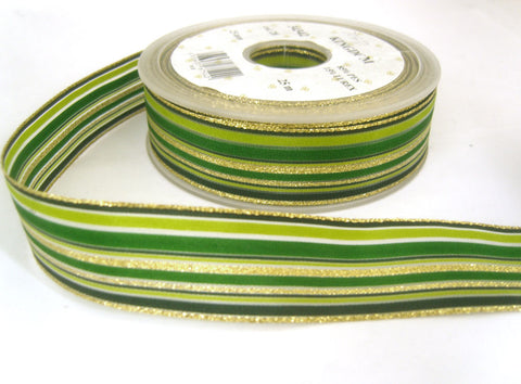 R7047 25mm Greens and Gold Metallic, Solid and Sheer Striped Ribbon