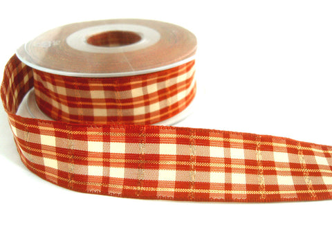 R7114 40mm Rust and Cream Tartan Ribbon with Copper Metallic Stripes