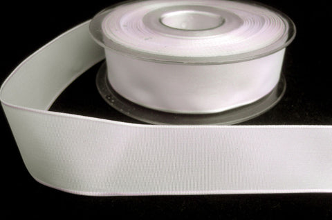 R8396 27mm White Polyester Taffeta Wire Edge Ribbon - Ribbonmoon
