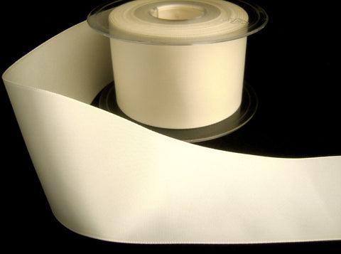 R8398 40mm Ivory Polyester Soft Touch Taffeta Ribbon by Berisfords - Ribbonmoon