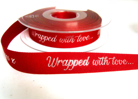 R8854 16mm Red Grosgrain Printed Ribbon by Berisfords