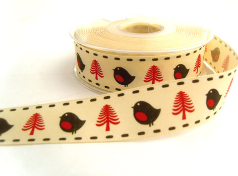 R8730 25mm Cream,Red and Black,Robin and Christams Tree Ribbon,Berisfords