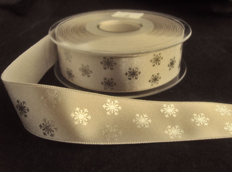 R8749 15mm Silver Grey Satin Ribbon with Metallic Snowflake Design by Berisfords