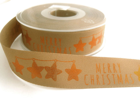 R8750 25mm Oatmeal Rustic Taffeta Merry Christmas Ribbon by Berisfords