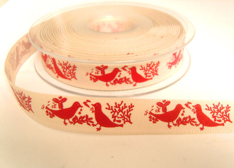 R8763 15mm Natural and Red Rustic  Christmas Dove Ribbon by Berisfords