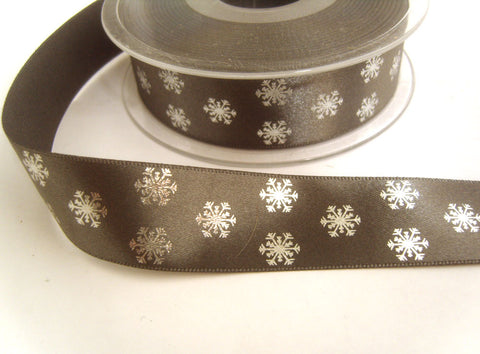 R8765 25mm Grey Satin Ribbon with Metallic Snowflake Design by Berisfords