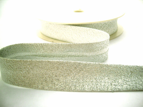 BB358 19mm Silver Metallic Lurex Bias Binding Tape