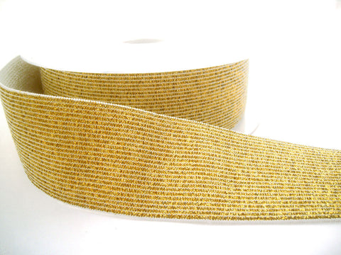 E135 40mm White and Metallic Gold Lurex Elastic