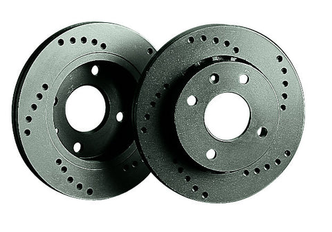 Audi A1 1.2 For PR# 1ZG (10-) Black Diamond Cross Drilled 256mm Front Brake Discs