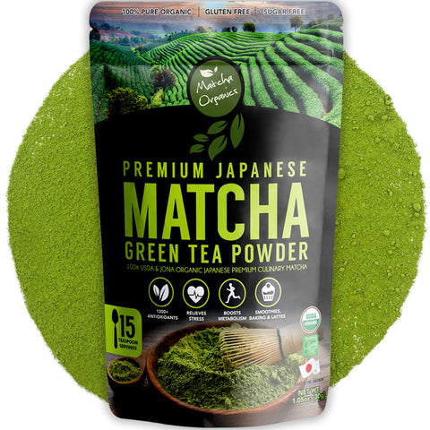 Premium Organic Japanese Matcha Green Tea Powder - Culinary Grade - 30gm / 1.05oz