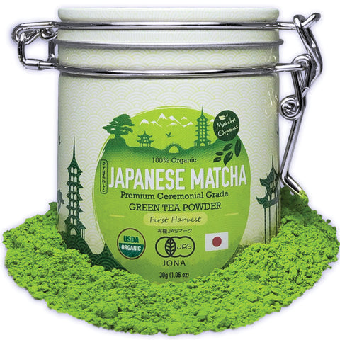 Premium Ceremonial Japanese Matcha Green Tea Powder - USDA & JAS Organic - From Japan 30g Tin [1.06oz]