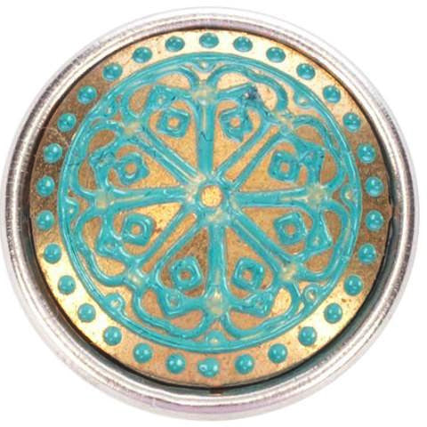 Brass and Blue Henna Style Popper