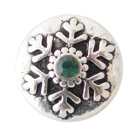 Green Crystal Metal Snowflake Mini Snap - Gracie Roze Yourself Expression Snap Jewelry