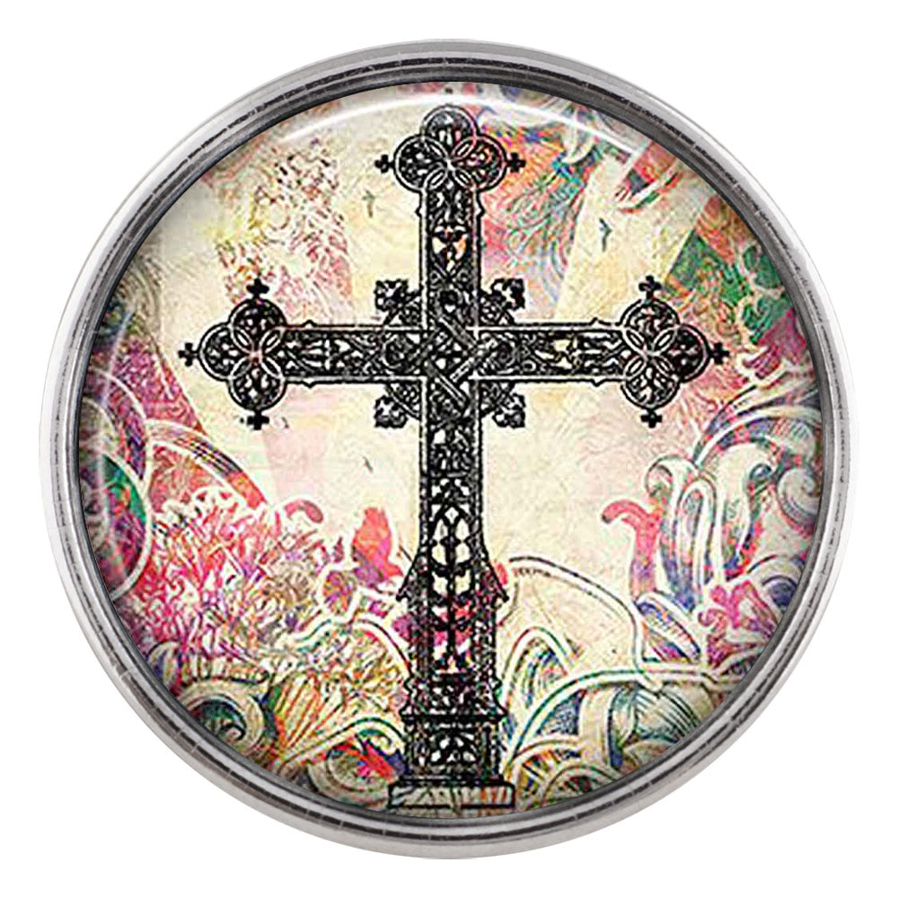 Colorful Cross Glass Snap - Gracie Roze