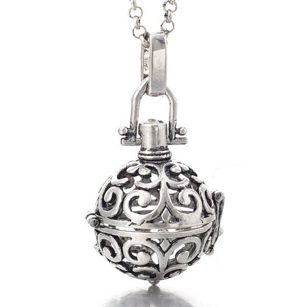 Angel Locket Silver Scroll(chimer not included)