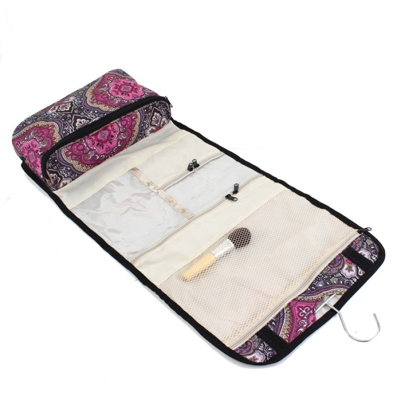 Purple Paisley Roll Up Cosmetic Bag - Gracie Roze