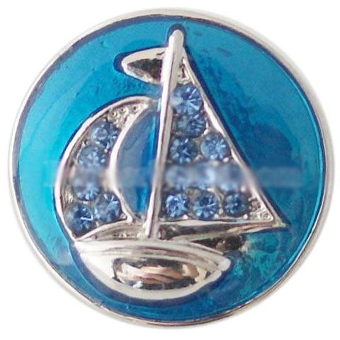 Blue Crystal Sailboat Snap - Gracie Roze Yourself Expression Snap Jewelry