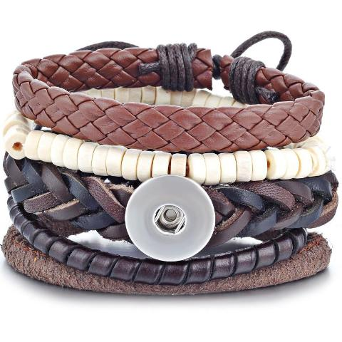 Shades of Brown Layered Snap Bracelet