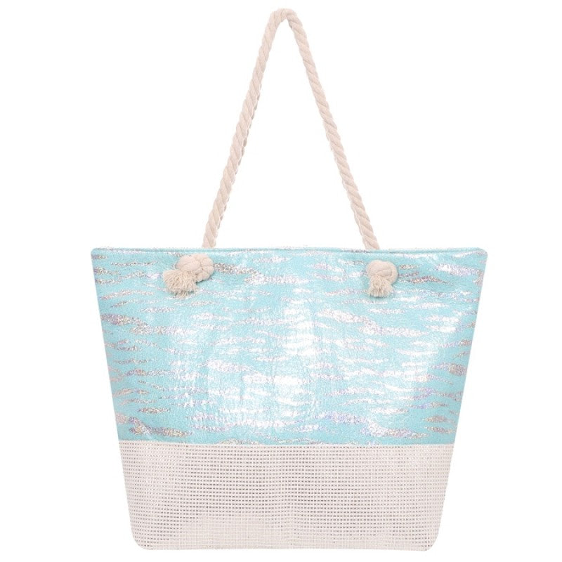 Foiled Beach Bag - Blue - Gracie Roze