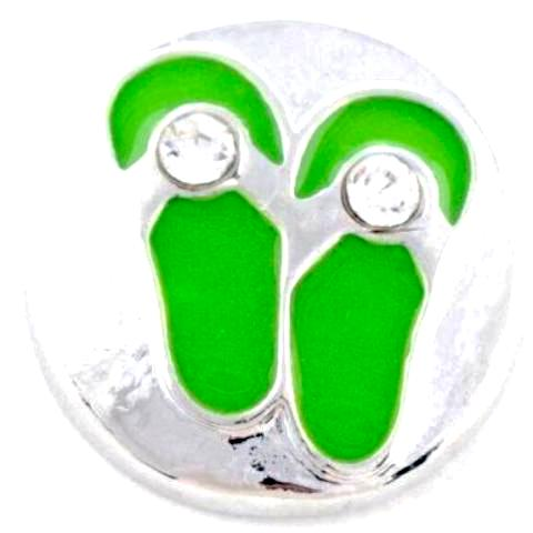 Lime Green Metal Flip Flops Snap